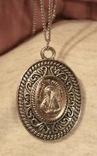 Swirl Rim St Gabriel Possenti Passionist Medal Silvertne Pendant Necklace