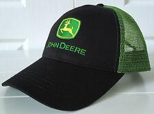 JOHN DEERE BLACK WITH GREEN MESH BACK CAP WITH LOGO
