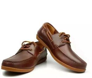 Clarks Men's Lace Up Boat Shoes 'Morven Sail' Tan Leather UK Size 10 / 44.5