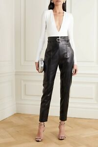 £1850 Alexandre Vauthier Belted Leather Straight-Leg Pants - 42 FR