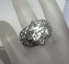 STUNNING STERLING SILVER CZ RING SIZE 5.25