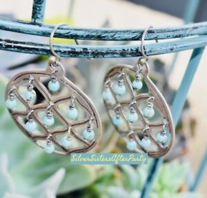 Silpada Howlite Sterling Silver Bead Round Cutout Blue W1682 Earrings