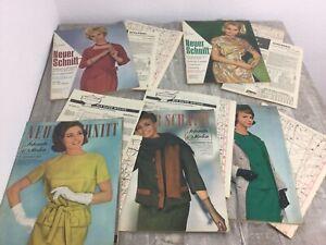 5 x Der Neue Schnitt 1962 8-12  Modezeitschrift mit Schnittmuster, Anleitung