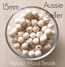 BULK 150x Natural Wood 15mm beads round unfinished raw baby teething jewellery