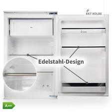 Premium Einbaukühlschrank 88cm m. Eisfach Edelstahlfarb. Ausstattung A++