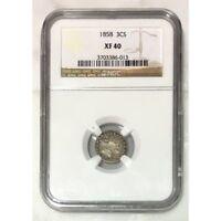1858 Three Cent Silver NGC XF40 ***Rev Tye's Coin Stache*** #6013131