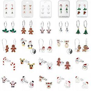 925 Sterling Silver Christmas Stud Hoop Earrings Santa Reindeer Snowflake Holly