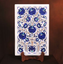 """18"""" x 12"""" Marble Side Table Top Mosaic Lapis Inlaid Pietra dure Home Decor"""