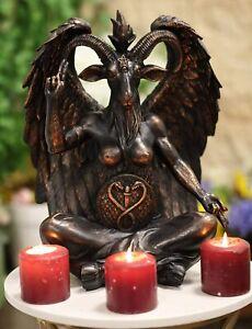 "Ebros Large 16"" Tall Sabbatic Goat Idol Samael Lilith Baphomet Seated Statue"