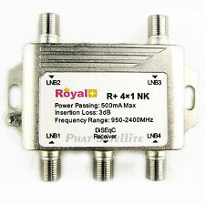 Royal+ Heavy Duty 4x1 DiSEqC Switch Satellite DISH Royal+  500mA Max CNX Chieta