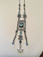 Women's Rhinestone/CZ & Bead Silver Necklace New