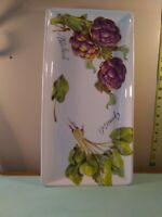 """Sur la table large rectangular serving platter 17""""X 8.5"""" hand painted from Italy"""