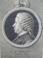 Rare gravure portrait XVIIIème Faculté de medecine Paris Cochin Saint Aubin 1786