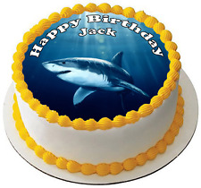 """GREAT WHITE SHARK 7.5"""" PREMIUM Edible RICE Cake Topper CAN PERSONALISE TEXT D1"""