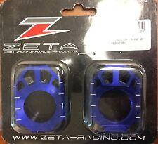 Zeta Blue Rear Axle Blocks for Kawasaki 03-15 KX 125 250 250F 450F RMZ ZE93-5112
