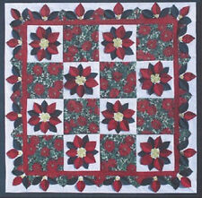New Pieced 3 Dimensional Quilt Pattern POINSETTIA Any Size