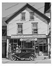 1940s era vintage photo-General store front-gas pumps-old car-Salada tea-8x10in