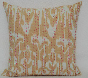 INDIAN BEIGE CUSHION PILLOW COVERS Kantha Work Ethnic Vintage Decorative India