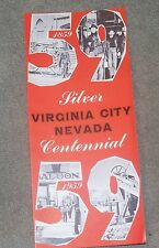 Virginia City Nevada Silver Centennial Information Pamphlet Brochure June 1959
