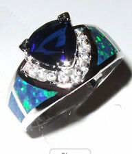 Jewelry New CZ Rings Size 9 Blue Sapphire/Opal Women's 925 Silver Filled Wedding