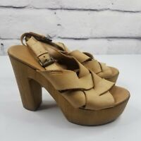 Aldo Womens EUR 39 US Size 8.5 Wooden Platform Sandals Leather Tan Made in Italy