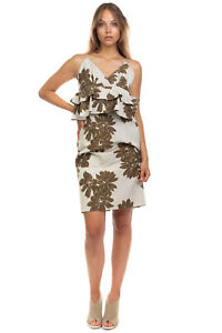 OTTOD'AME Jacquard Peplum Dress Size 42 / S Linen Blend Floral Made in Italy