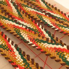 "10 yards 3/4"" brown red green white flat braided trim banding USA Made webbing"