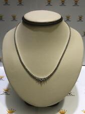 Platinum Sterling Silver White Sapphire Round Stone Graduated Tennis Necklace