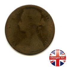 Un bronzo Britannica 1876 H Victoria PENNY COIN (Heaton) (Ref:1876_19/20)