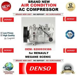 DENSO NEW AIR CONDITION AC COMPRESSOR OEM: 8200939386 for RENAULT MEGANE SCENIC