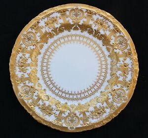 FINE ANTIQUE ROYAL CROWN DERBY BEAUTIFUL 24K GOLD ON PORCELAIN PLATE ESTATE SALE