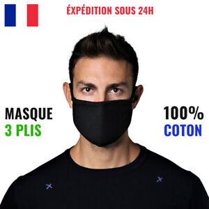 Masque Tissu Lavable Noir Coton Unisexe