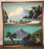 "Set Of 2 Vintage Oil Paintings On Canvas Asian Landscape Dated 1970 28""x16"" Rare"