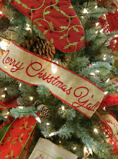 """Christmas Ribbon 4"""" Natural Burlap Embroidered Red Merry Christmas Y'all RB1038"""