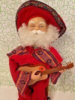 Vintage Christmas Santa Claus Animated Musical Hispanic Mexican Guitar Sombrero