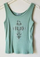 Nally & Millie Women's Tank Top Shirt Cross Embellished Green Ribbed Size Medium