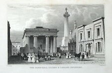 DEVON devonport Municipio, colonna & LIBRERIA Thomas Allom antica stampa 1832