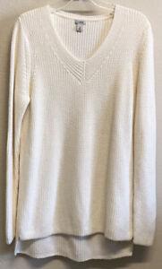 L.L. Bean V-Neck Sweater XL Reg Ivory Pullover Tunic Style