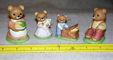Set of 4 Homco Family Picnic Bears Figures #1462, Mother, Father, Son, Daughter