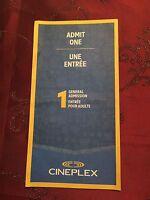 Cineplex Admit One Gift Certificate