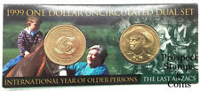 1999 One Dollar ($1) Dual set-Older Person & The Last ANZACS UNC Australian coin