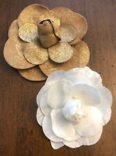 2 Flower Brooches One White Textile One Beige Iridescent Suede