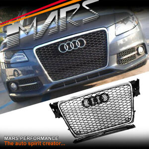 Chrome Black Honeycomb RS4 Style Front Bumper Grille Grill for AUDI A4 B8 09-11