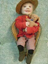 """den-229 Dianne Dengel doll; """"Red Sweater Boy"""" Ooak; 20"""" w/ hat & toy"""