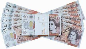 £10 GBP FAKE MONEY 100 NOTES - NEW EDITION - Movies Play Fake Cash Casino Photo