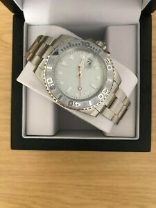 Men's Silver Watch, Automatic Yacht Style Ceramic Bezel + Presentation Box