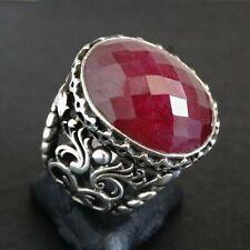 925 Sterling Silver Ring natural raw Ruby corundum Handmade Mens Jewelry 10.25