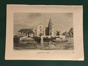 EGLISE DE BINONDO MANILLE PHILIPPINES SPANISH COLONIAL PRINT ENGRAVING 1848
