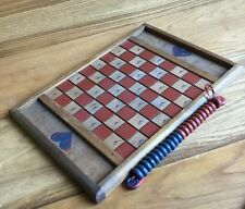 Vintage Collectible: All Wood Handmade In America Checkers Game Board & Pieces