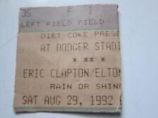 Eric Clapton Elton John Dodger Stadium 8/29/92 concert ticket